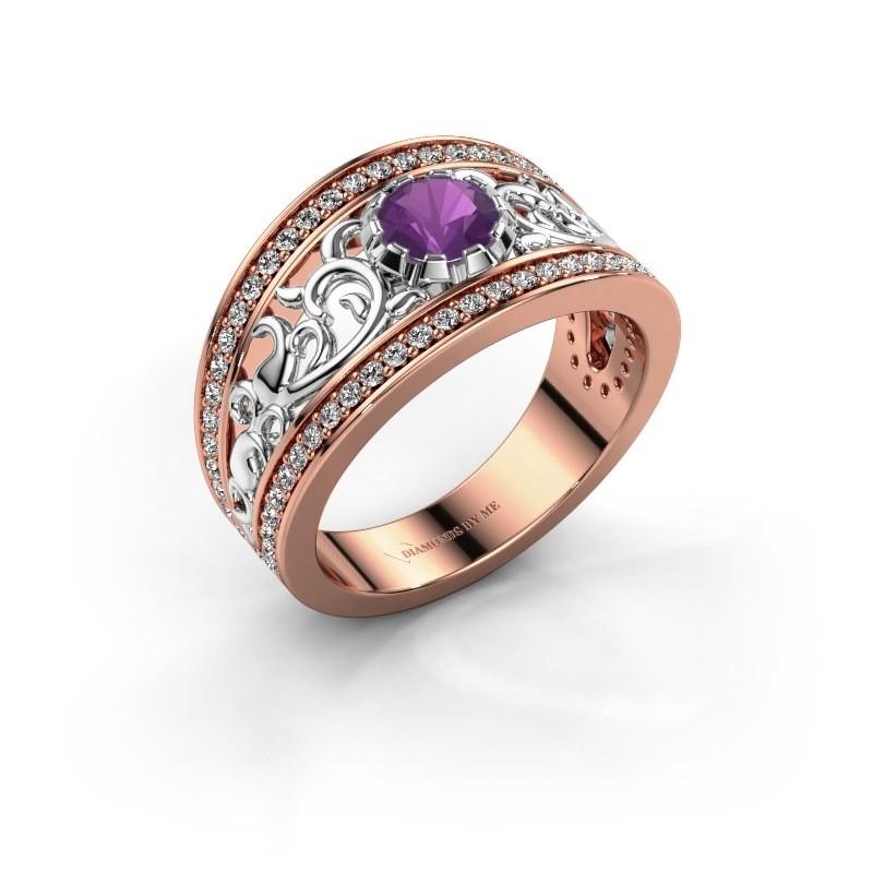 Ring Marilee 585 rosé goud amethist 5 mm