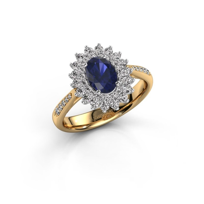 Engagement ring Alina 2 585 gold sapphire 7x5 mm