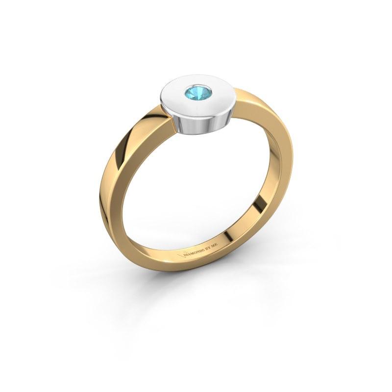 Ring Elisa 585 Gold Blau Topas 3 mm