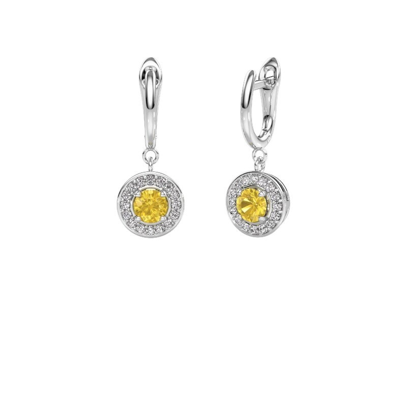 Drop earrings Ninette 1 950 platinum yellow sapphire 5 mm