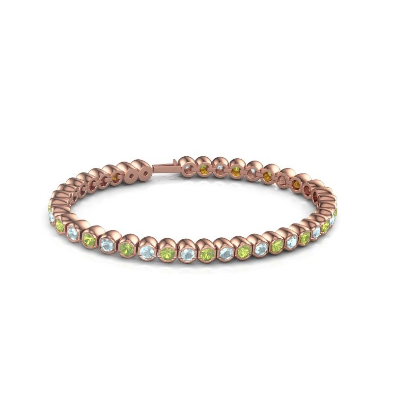 Tennisarmband Mellisa 375 rosé goud peridoot 3.5 mm