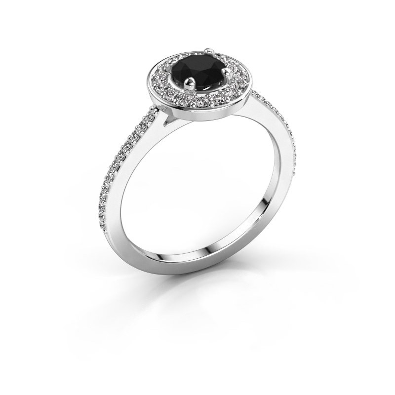 Ring Agaat 2 585 witgoud zwarte diamant 0.88 crt