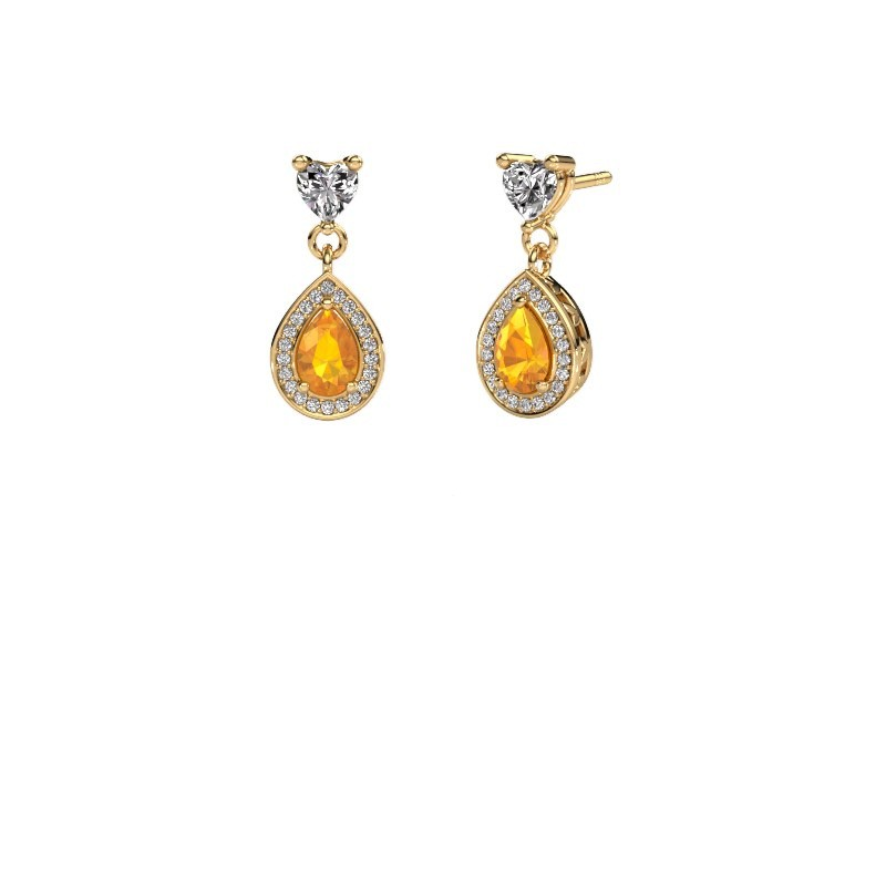 Drop earrings Susannah 375 gold citrin 6x4 mm