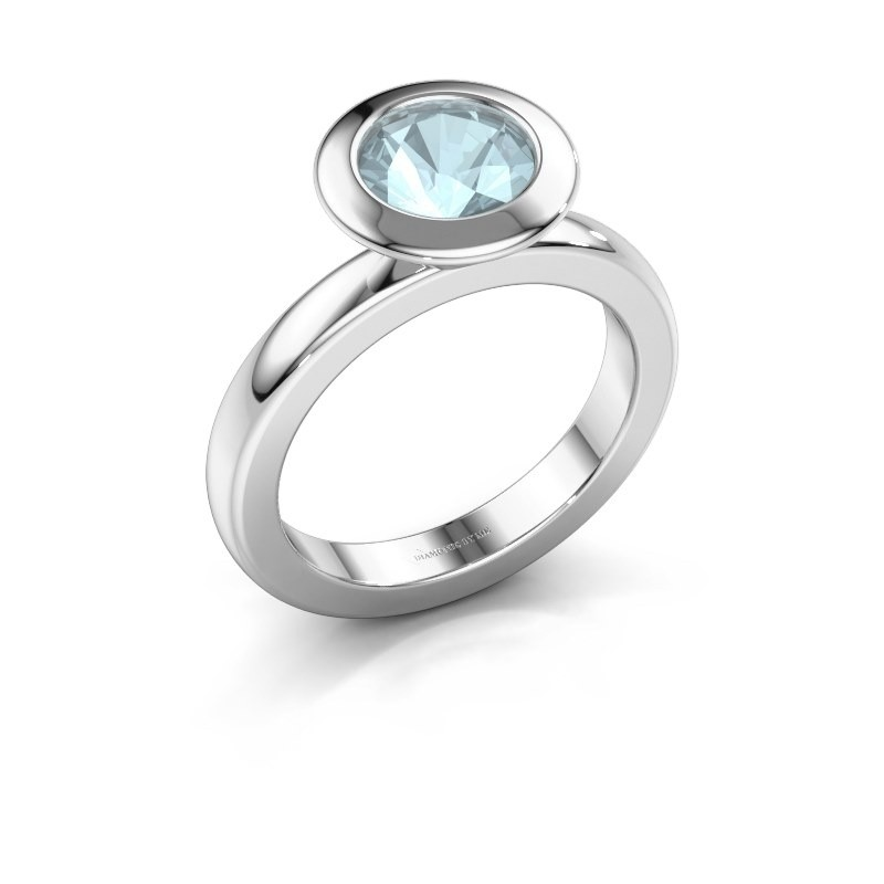 Stacking ring Trudy Round 925 silver aquamarine 7 mm