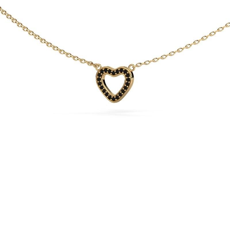 Pendentif Heart 4 375 or jaune diamant noir 0.066 crt