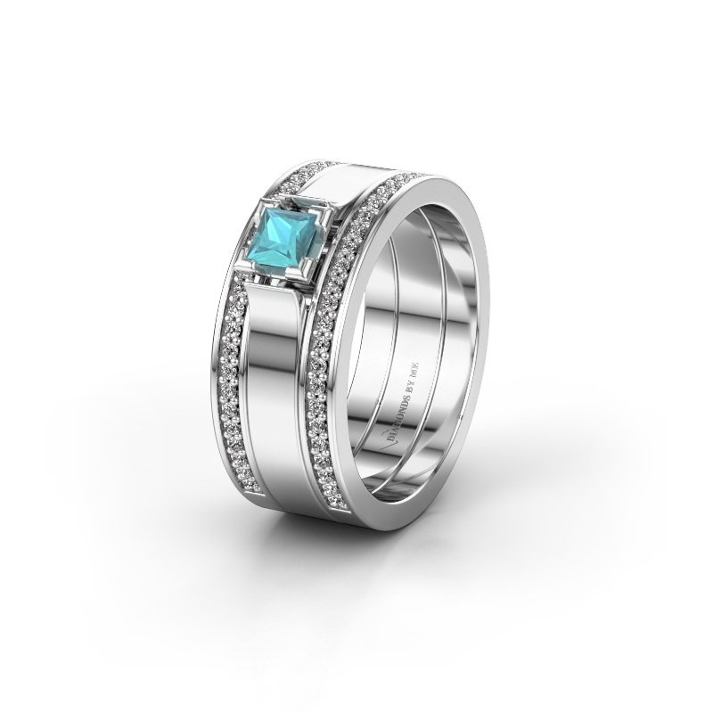 Trouwring WH2121L 925 zilver blauw topaas ±8x1.7 mm