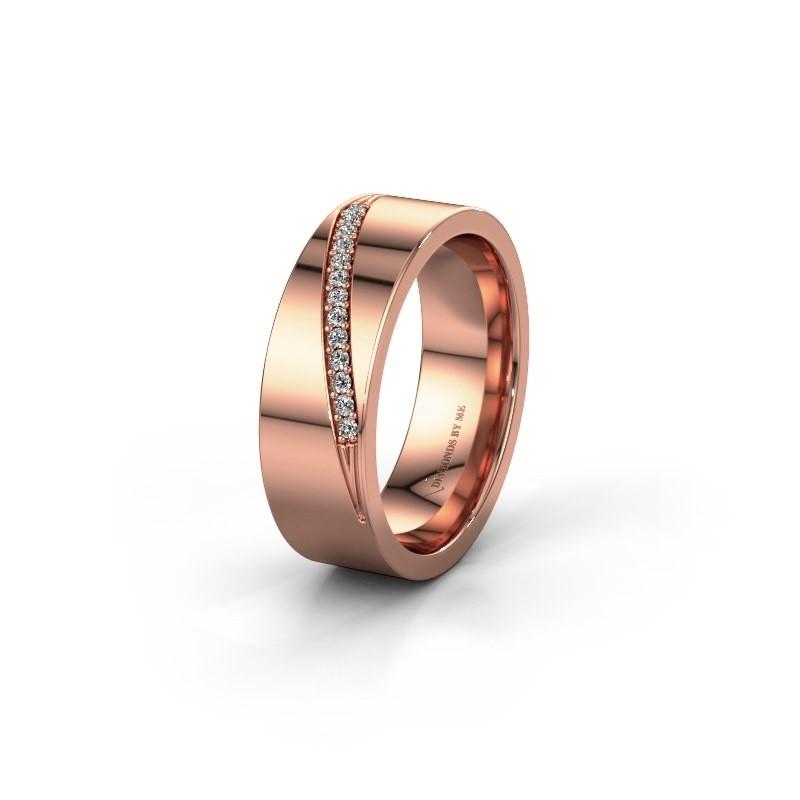 Trouwring WH2146L17A 585 rosé goud lab created ±7x1.7 mm