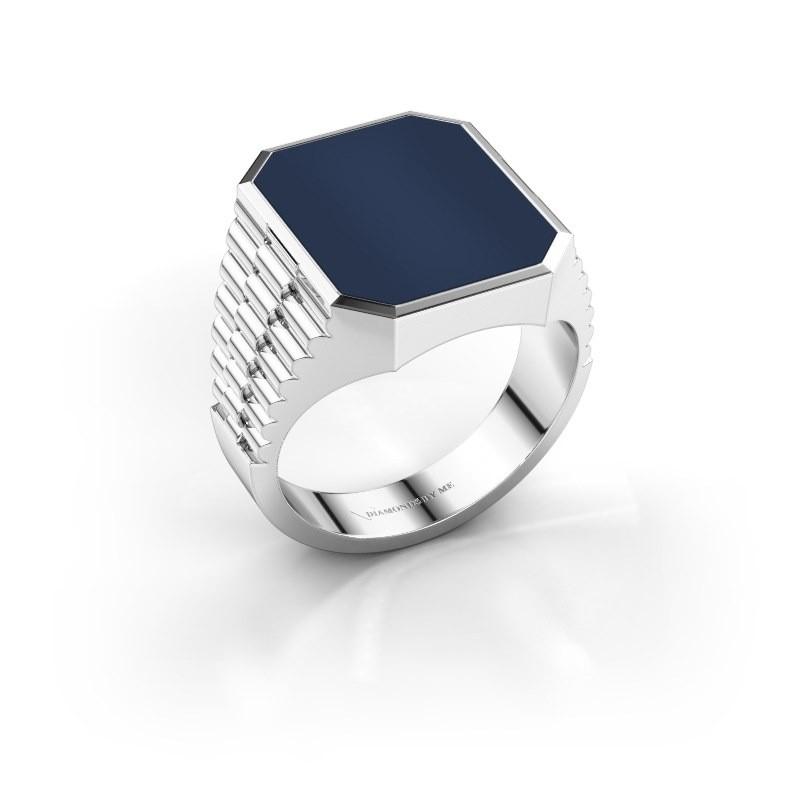 Rolex stijl ring Brent 4 925 zilver donker blauw lagensteen 16x13 mm