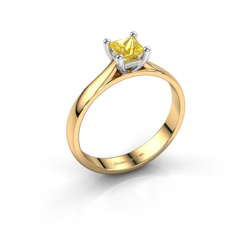 Verlobungsring Sam Square 585 Gold Gelb Saphir 4 mm
