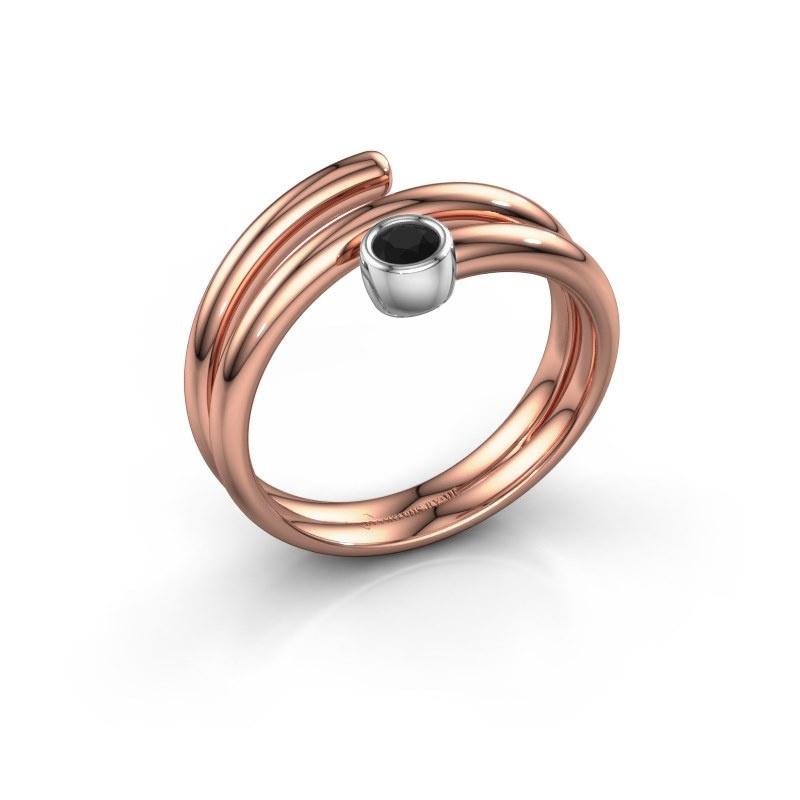 Ring Jenna 585 rosé goud zwarte diamant 0.12 crt