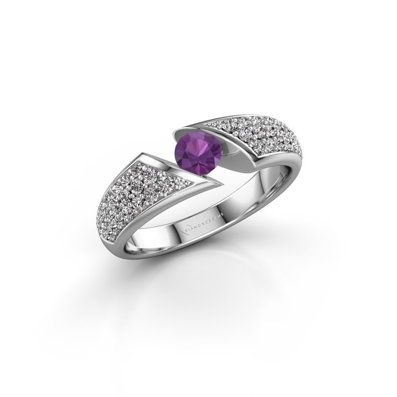 Engagement ring Hojalien 3 585 white gold amethyst 4.2 mm