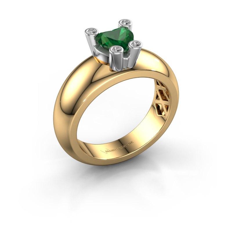 Ring Cornelia Heart 585 gold emerald 6 mm