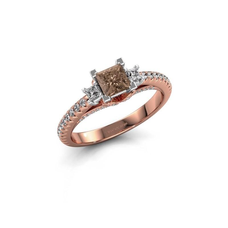 Verlovingsring Valentina 585 rosé goud bruine diamant 0.88 crt
