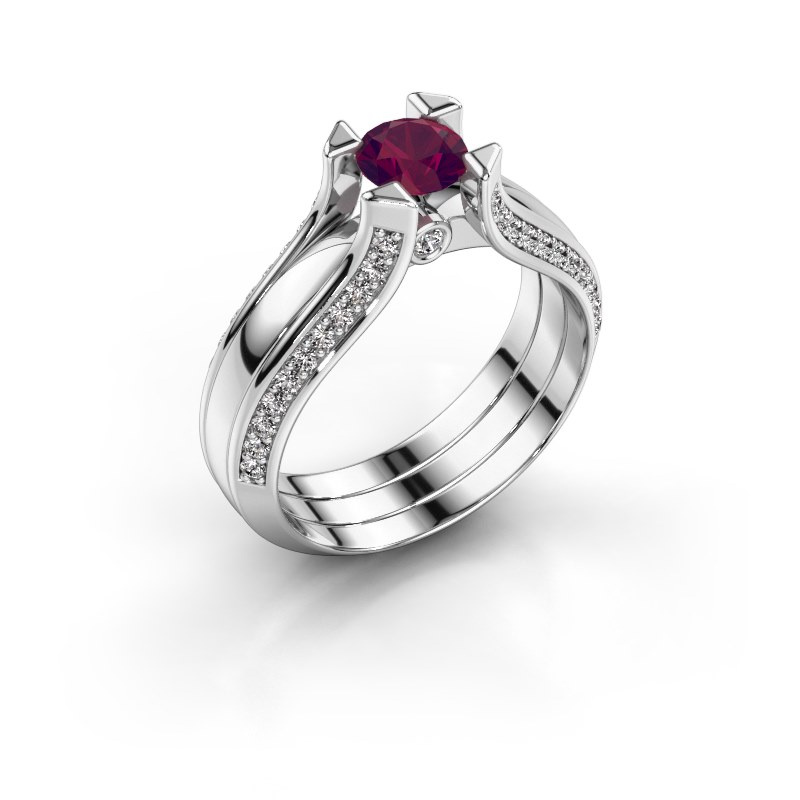 Engagement ring Nadine 950 platinum rhodolite 5 mm
