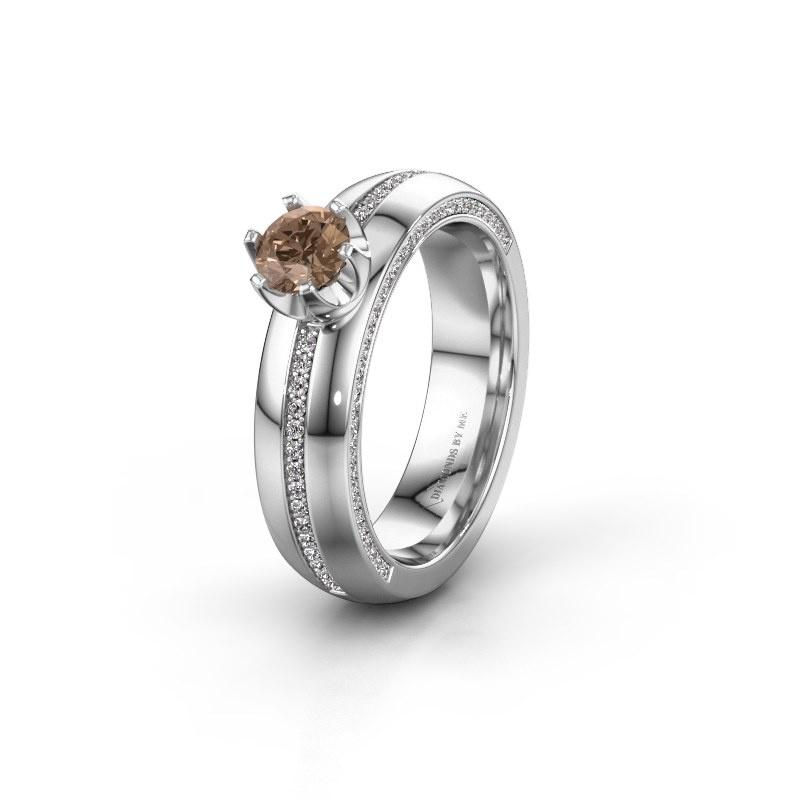 Huwelijksring WH0416L25E 950 platina bruine diamant ±5x2.6 mm