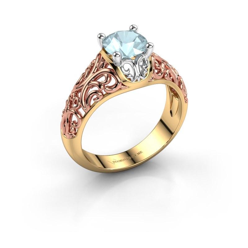 Ring Mirte 585 goud aquamarijn 6.5 mm