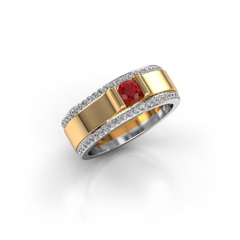 Men's ring Danillo 585 gold ruby 4.2 mm