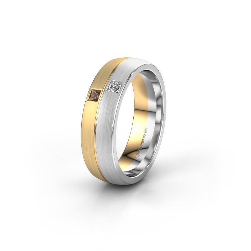 Wedding ring WH0250L26BM 585 gold smokey quartz ±0.24x0.08 in