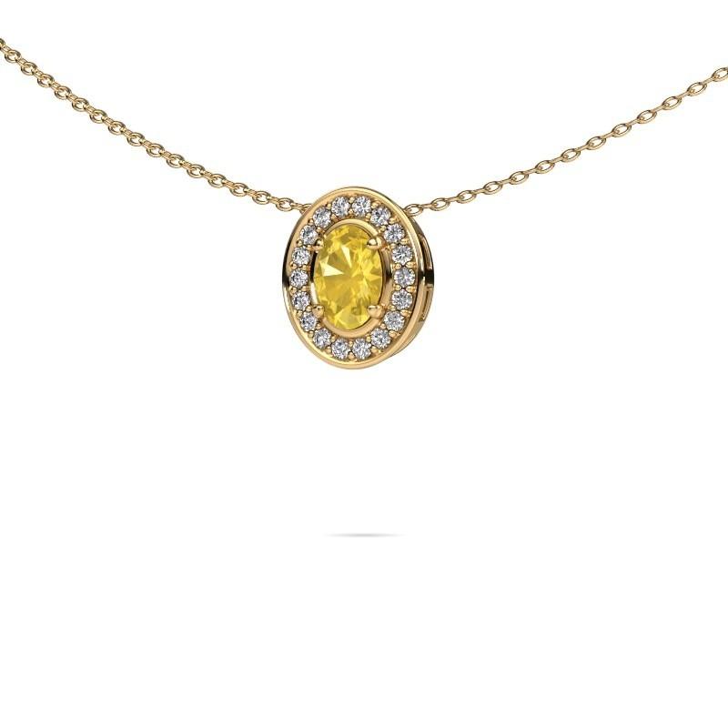 Ketting Madelon 375 goud gele saffier 6x4 mm