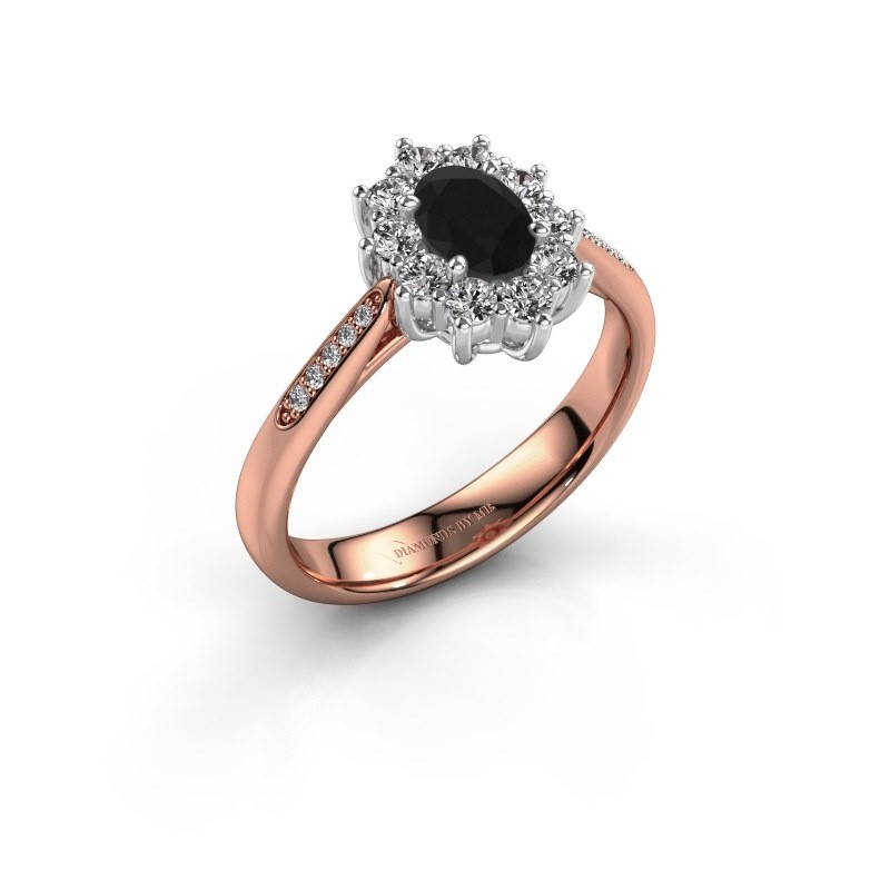 Verlovingsring Leesa 2 585 rosé goud zwarte diamant 0.60 crt