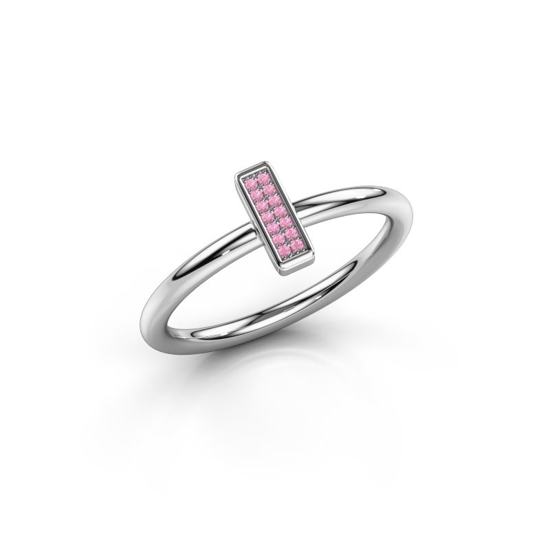 Ring Shape stripe small 925 zilver roze saffier 0.8 mm