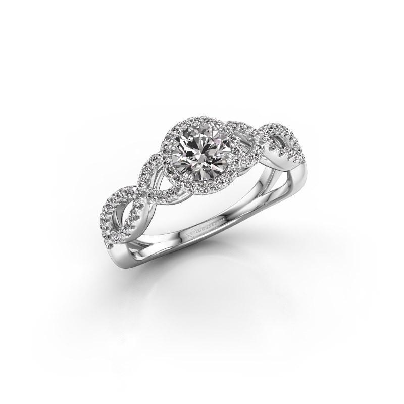 Verlovingsring Casandra 585 witgoud diamant 0.82 crt