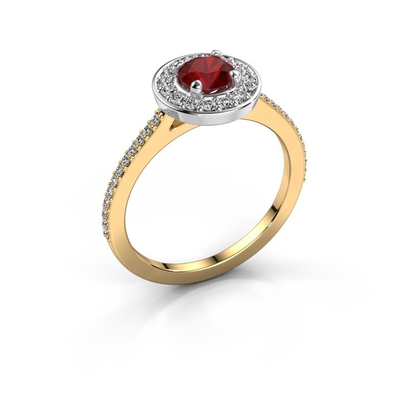 Ring Agaat 2 585 gold ruby 5 mm