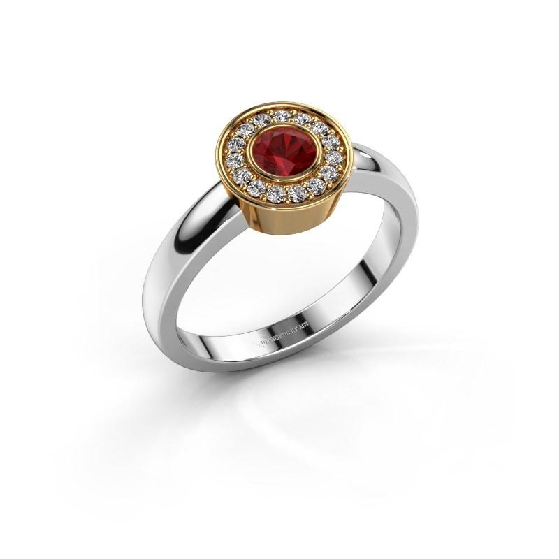 Ring Adriana 1 585 witgoud robijn 4 mm