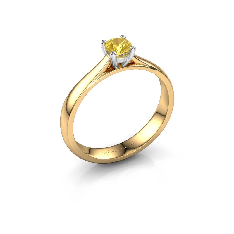 Engagement ring Sam 585 gold yellow sapphire 4.2 mm
