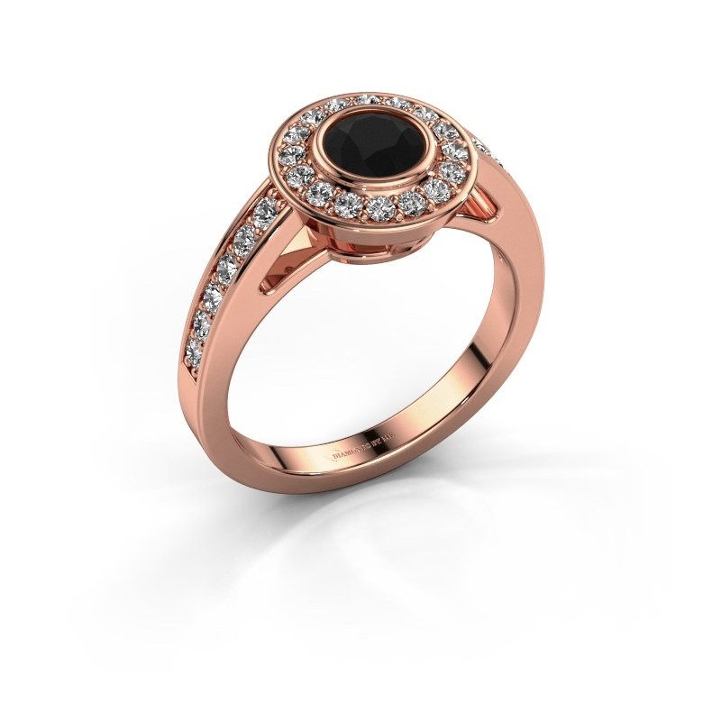 Verlovingsring Raven 1 375 rosé goud zwarte diamant 1.032 crt