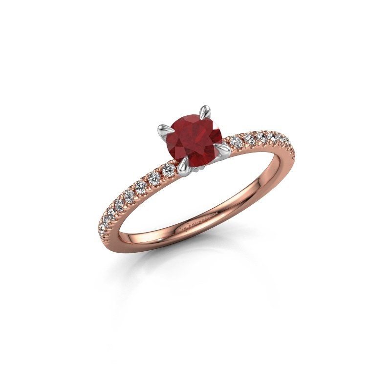 Verlovingsring Crystal rnd 2 585 rosé goud robijn 5 mm