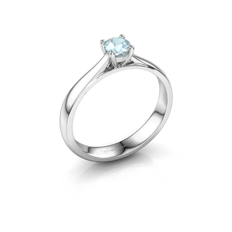 Engagement ring Sam 925 silver aquamarine 4.2 mm