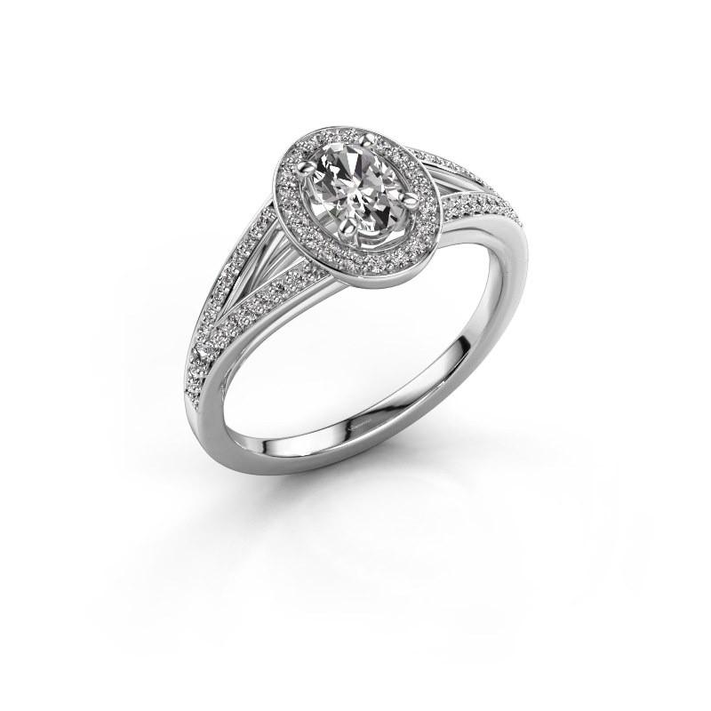 Engagement ring Angelita OVL 950 platinum zirconia 6x4 mm