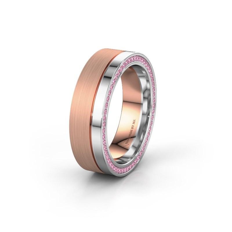Trouwring WH0313L16B 585 rosé goud roze saffier ±6x2 mm