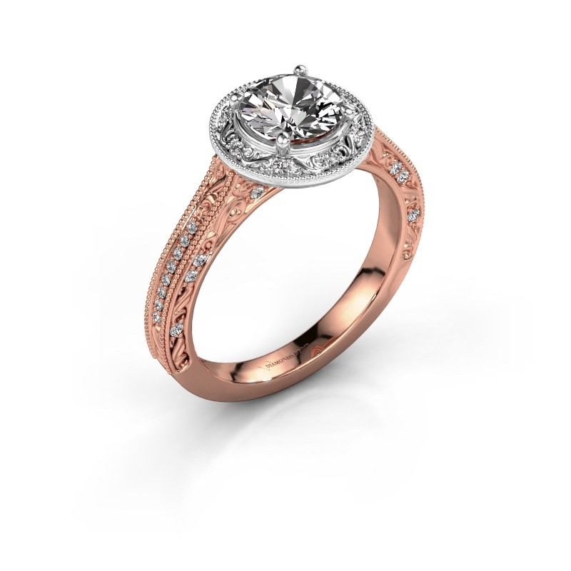 Verlovings ring Alice RND 585 rosé goud diamant 1.100 crt