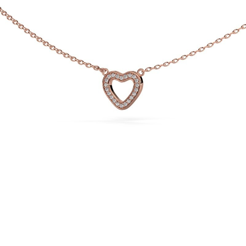 Hanger Heart 4 375 rosé goud zirkonia 0.8 mm