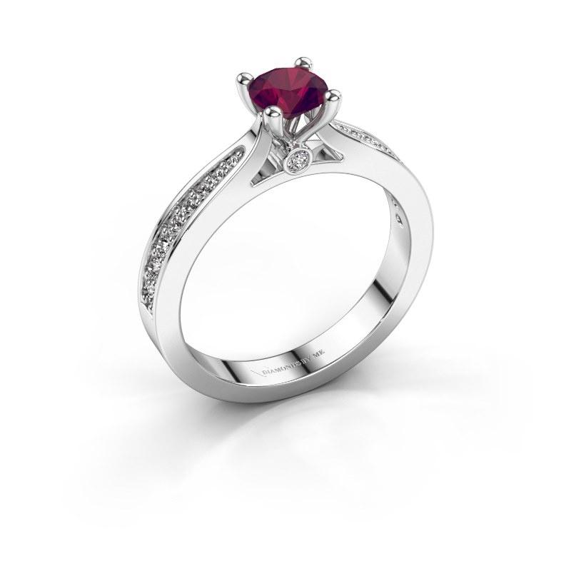 Engagement ring Evelien 925 silver rhodolite 5 mm