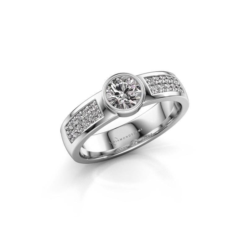 Engagement ring Ise 3 585 white gold zirconia 4.7 mm