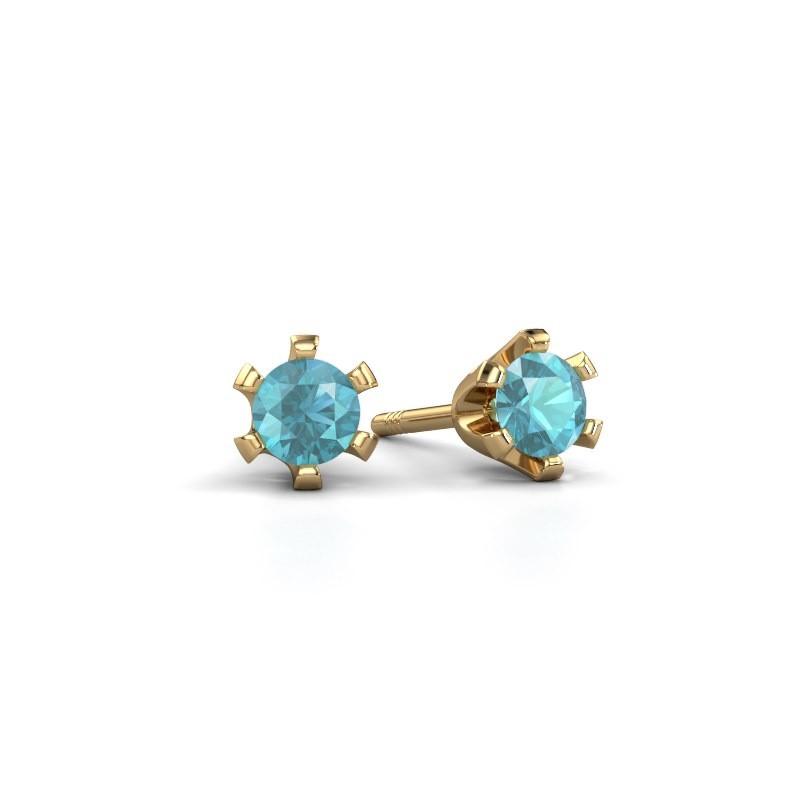Stud earrings Shana 375 gold blue topaz 4 mm