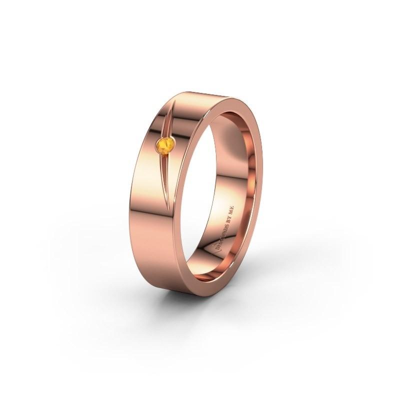 Trouwring WH0170L15A 375 rosé goud citrien ±5x1.7 mm
