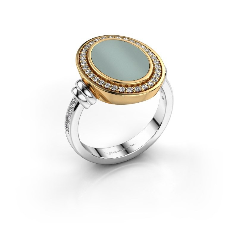 Heren ring Servie 585 witgoud groene lagensteen 14x10 mm