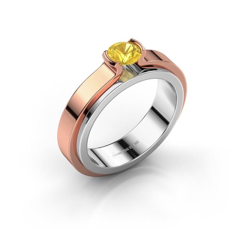 Engagement ring Jacinda 585 white gold yellow sapphire 4.7 mm