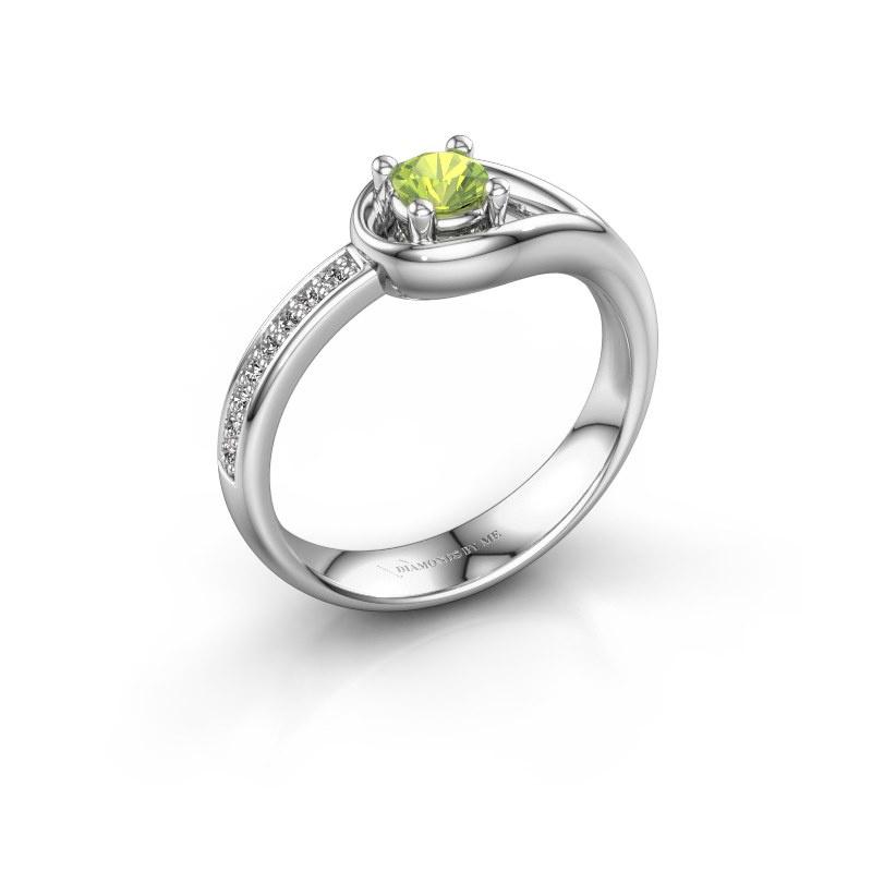 Ring Zara 925 zilver peridoot 4 mm