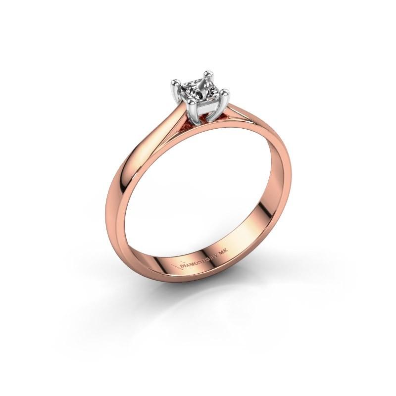 Engagement ring Sam Square 585 rose gold diamond 0.25 crt