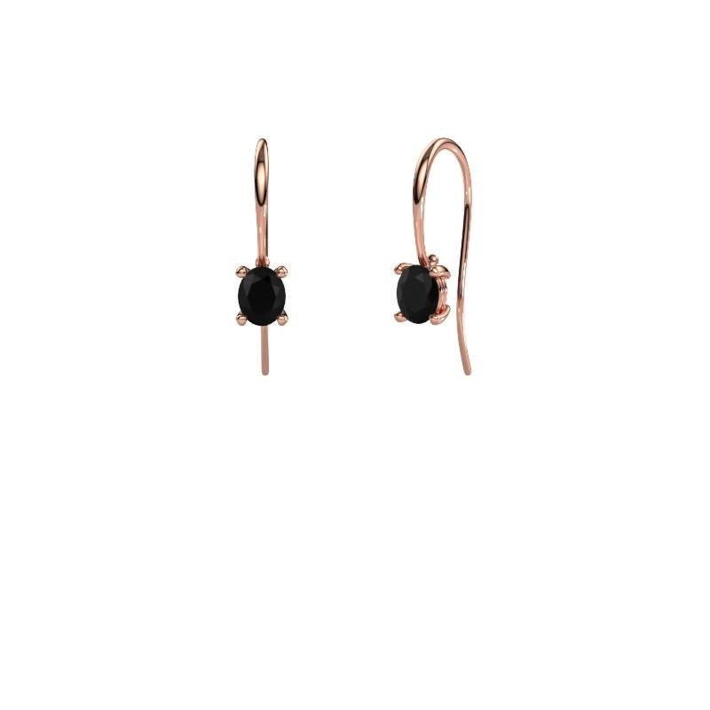 Oorhangers Cleo 375 rosé goud zwarte diamant 1.20 crt