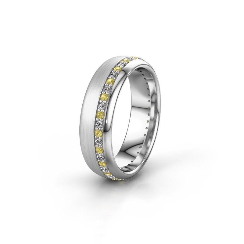 Trouwring WH0303L36BMP 925 zilver gele saffier ±6x2 mm