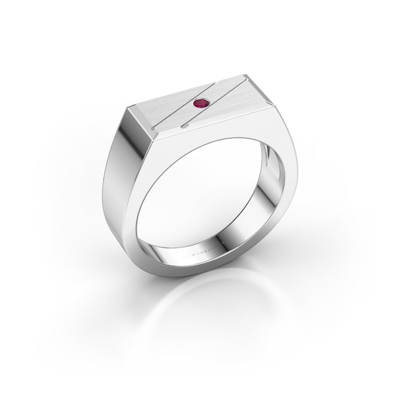 Men's ring Dree 3 950 platinum rhodolite 2 mm