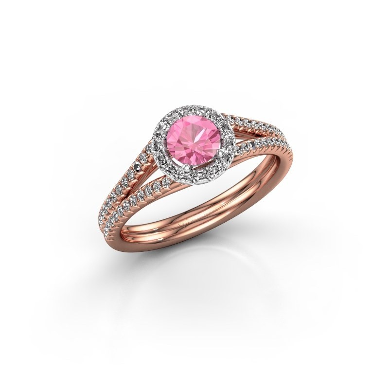 Verlovingsring Verla 2 585 rosé goud roze saffier 4.7 mm