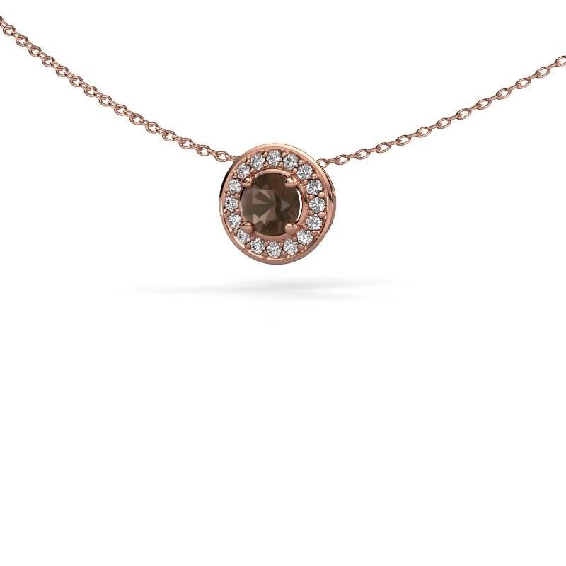 Hanger Agaat 375 rosé goud rookkwarts 5 mm