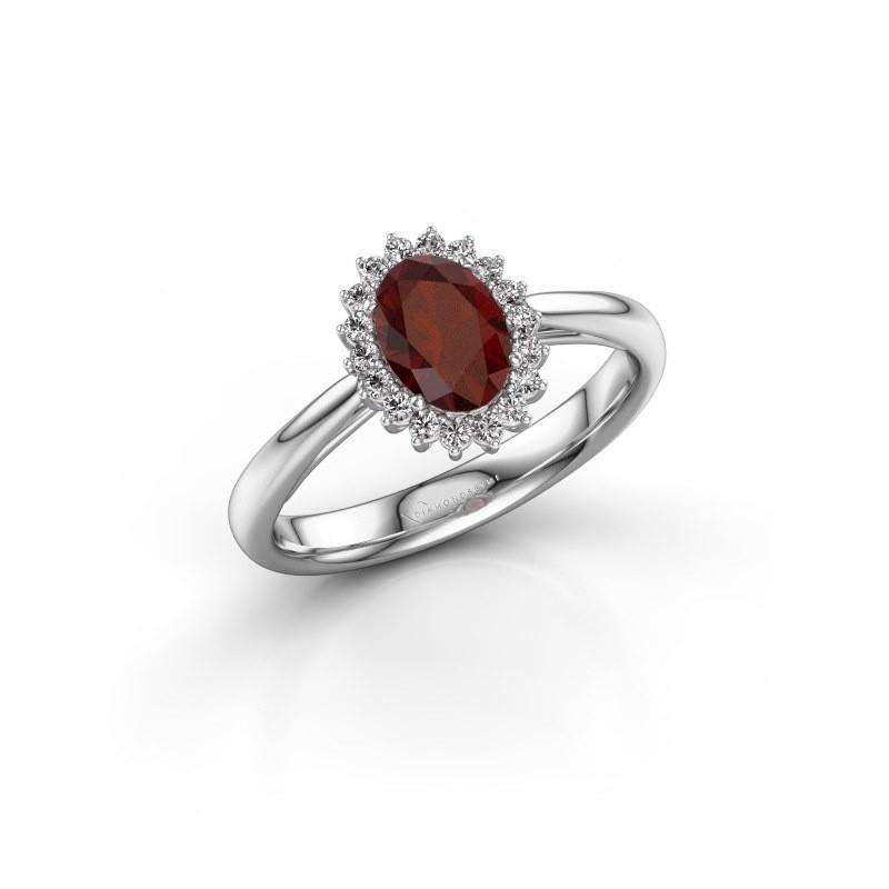 Engagement ring Tilly ovl 1 585 white gold garnet 7x5 mm